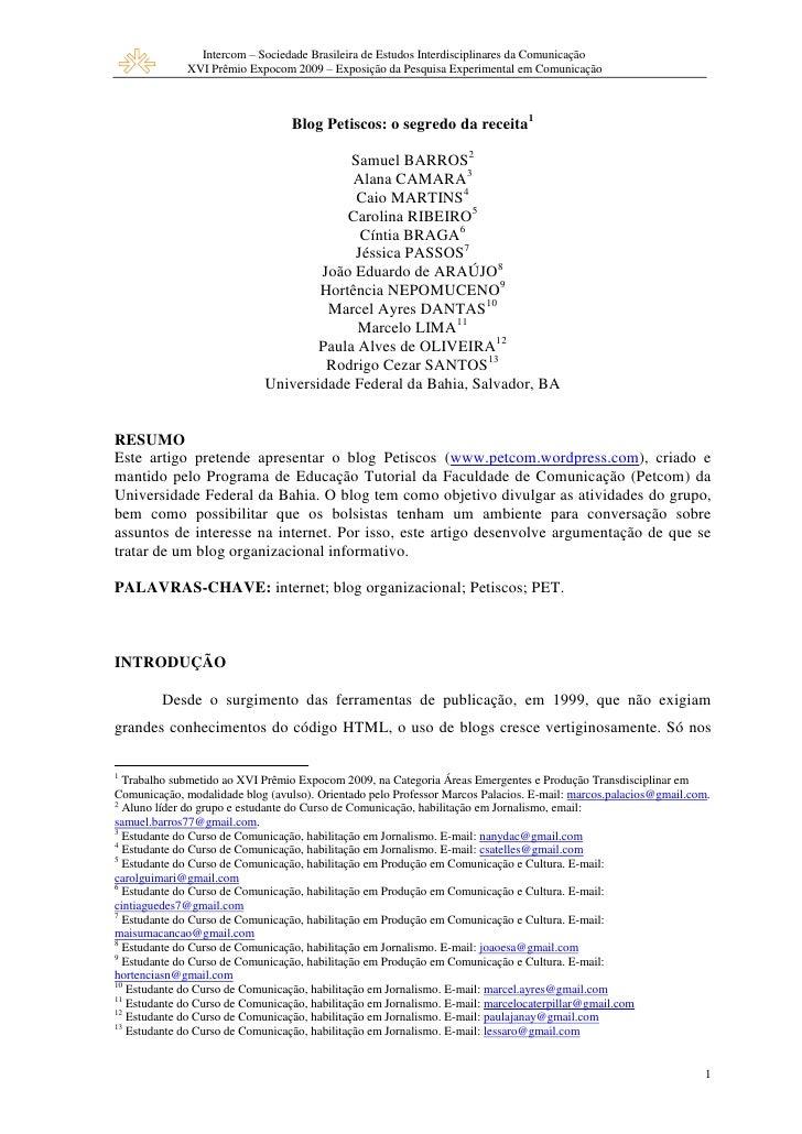 Intercom – Sociedade Brasileira de Estudos Interdisciplinares da Comunicação               XVI Prêmio Expocom 2009 – Expos...