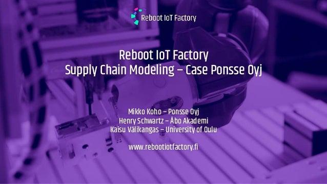 Reboot IoT Factory Supply Chain Modeling – Case Ponsse Oyj Mikko Koho – Ponsse Oyj Henry Schwartz – Åbo Akademi Kaisu Väli...