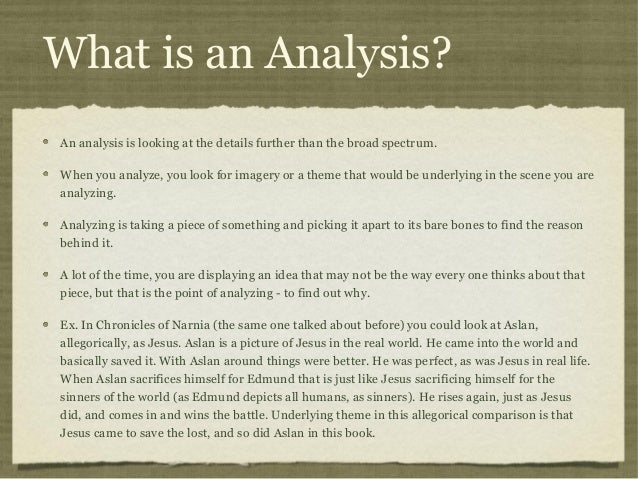 What Is An Analysis? 5. What ... Good Looking