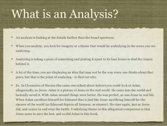 What Is An Analysis? 5. What ...