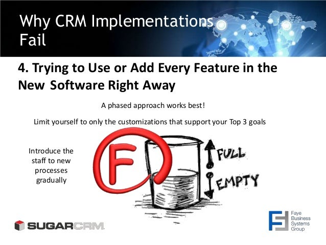 Why CRM Implementations Fail 4. Trying to Use or Add Every Feature in the New Software Right Away A phased approach works ...