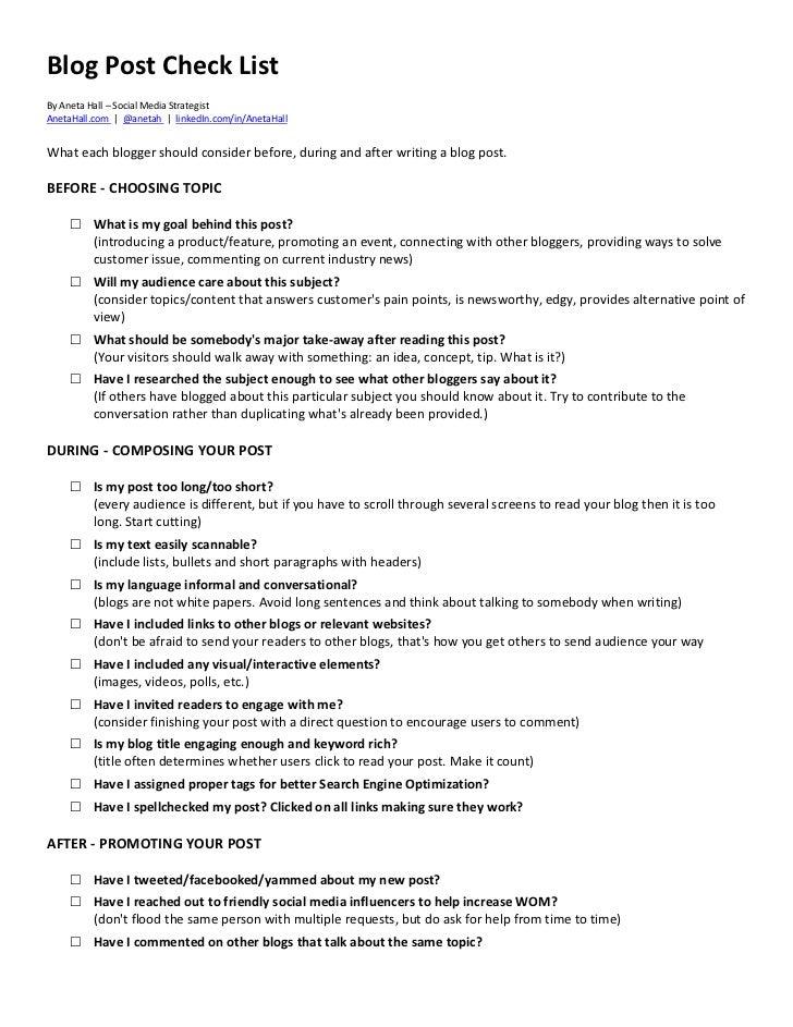 Blog Post Check ListBy Aneta Hall – Social Media StrategistAnetaHall.com | @anetah | linkedIn.com/in/AnetaHallWhat each bl...