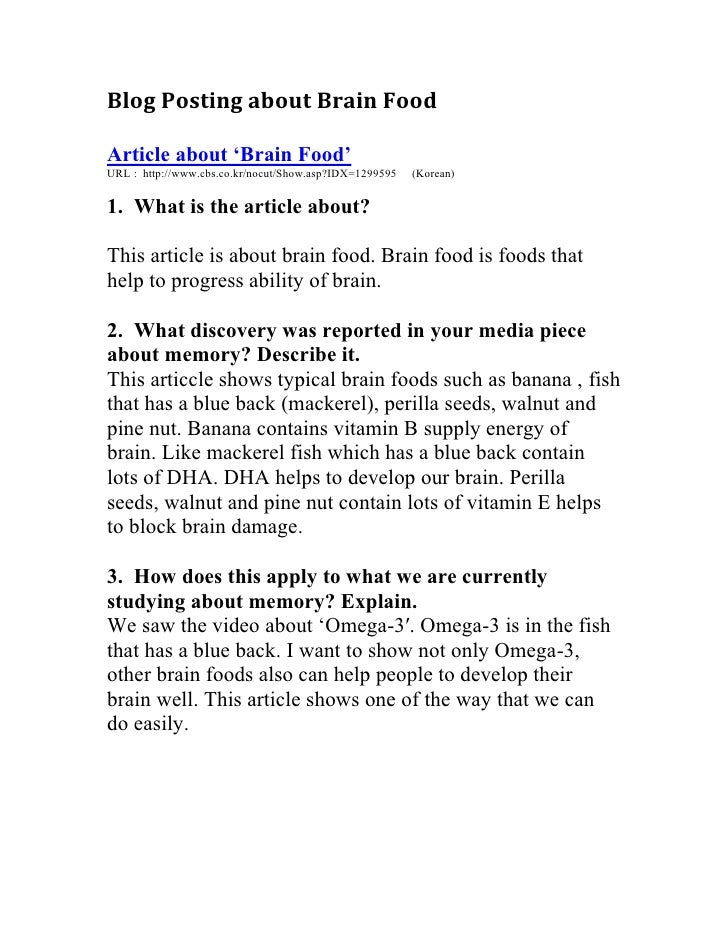 Blog Posting about Brain Food  <br />Article about 'Brain Food'<br />URL :  http://www.cbs.co.kr/nocut/Show.asp?IDX=129959...