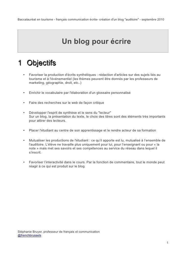 """Baccalauréat en tourisme - français communication écrite- création d'un blog """"auditoire"""" - septembre 2010                 ..."""