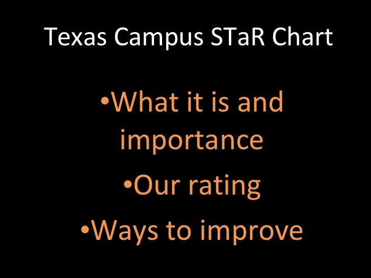 Texas Campus STaR Chart  <ul><li>What it is and importance </li></ul><ul><li>Our rating </li></ul><ul><li>Ways to improve ...
