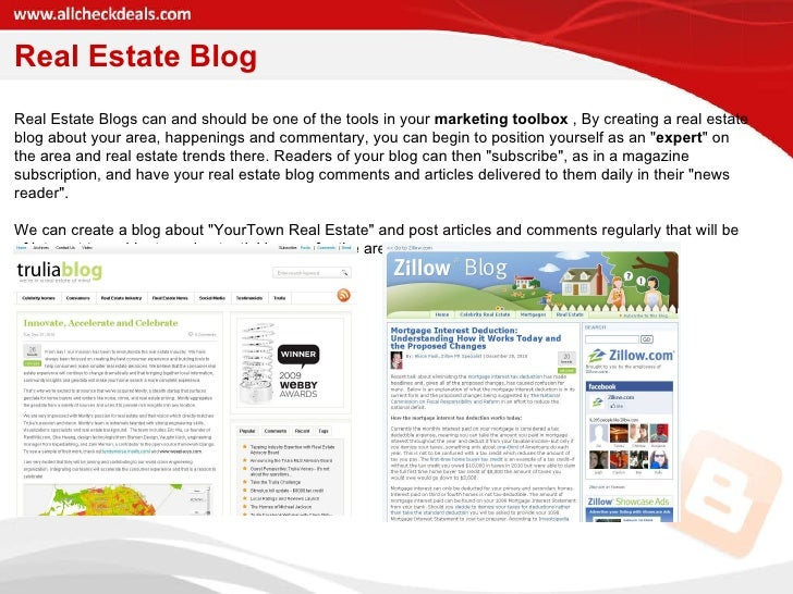 Real Estate Blog Real Estate Blogs can and should be one of the tools in your  marketing toolbox  , By creating a real est...