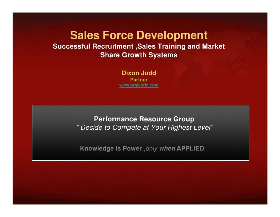 Sales Force Development                       p Successful Recruitment ,Sales Training and Market              Share Growt...