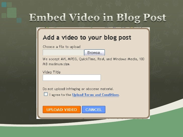 Embed Video in Blog Post<br />