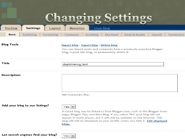 Changing Settings<br />