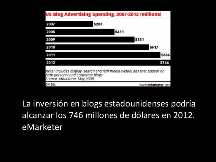 <ul><li>La inversión en blogs estadounidenses podría alcanzar los 746 millones de dólares en 2012. eMarketer  </li></ul>