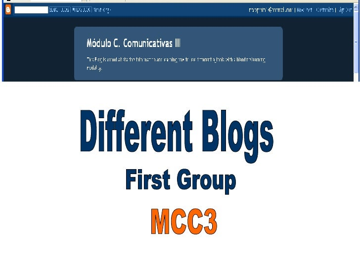 Different Blogs First Group MCC3