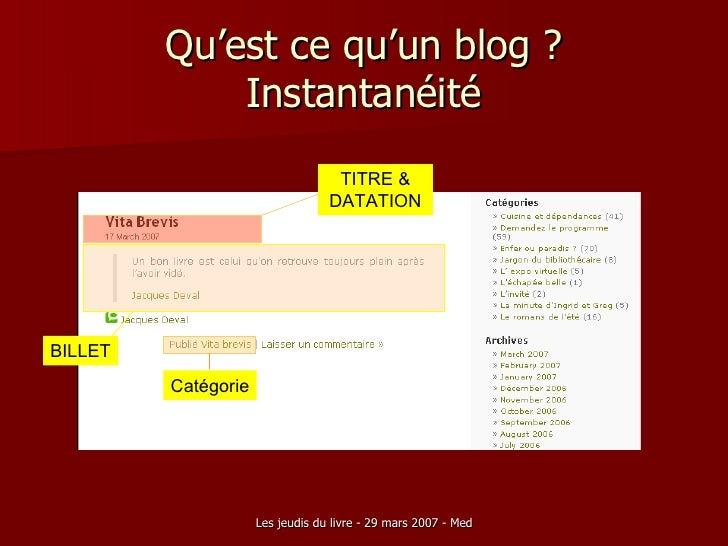 Qu'est ce qu'un blog ? Instantanéité TITRE & DATATION BILLET Catégorie