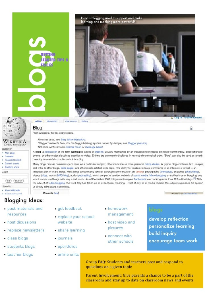 How is blogging used to support and make                                             learning and teaching more powerful? ...
