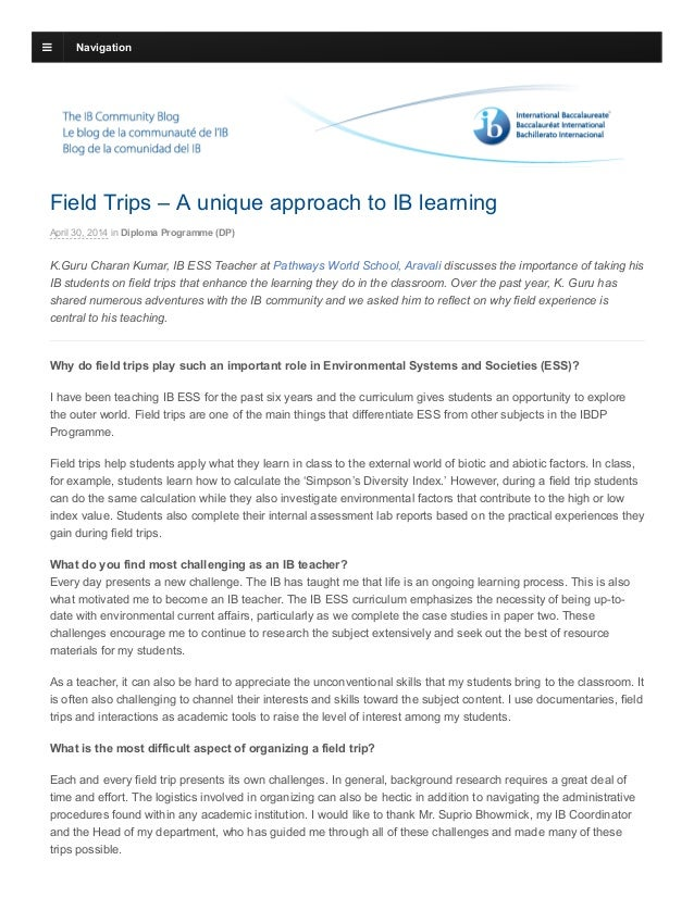 Field Trips – A unique approach to IB learning