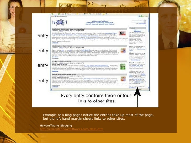 <ul><li>Example of a blog page: notice the entries take up most of the page, but the left hand margin shows links to other...