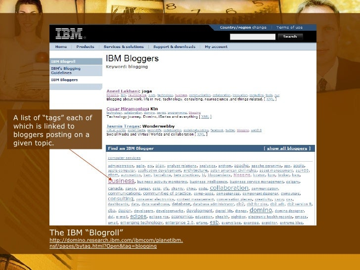 """The IBM """"Blogroll"""" http://domino.research.ibm.com/ibmcom/planetibm.nsf/pages/bytag.html?Open&tag=blogging A list of """"tags""""..."""