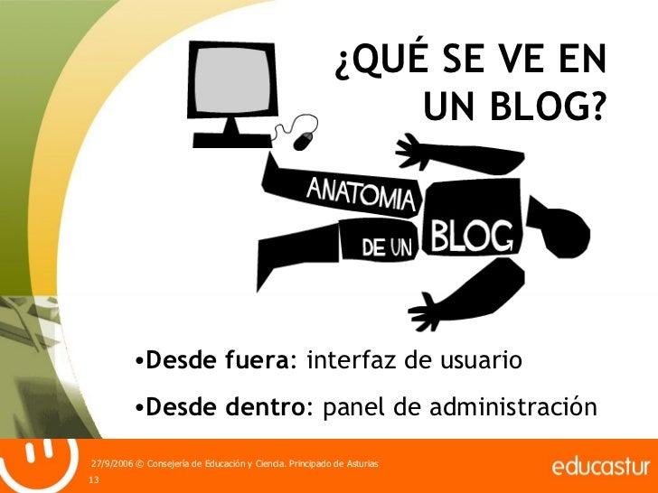 ¿QUÉ SE VE EN UN BLOG? <ul><li>Desde fuera : interfaz de usuario </li></ul><ul><li>Desde dentro : panel de administración ...