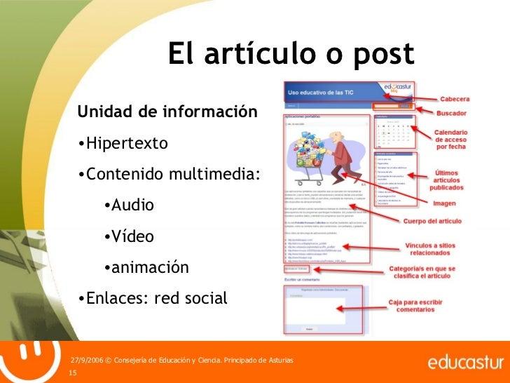El artículo o post <ul><li>Unidad de información </li></ul><ul><li>Hipertexto </li></ul><ul><li>Contenido multimedia: </li...