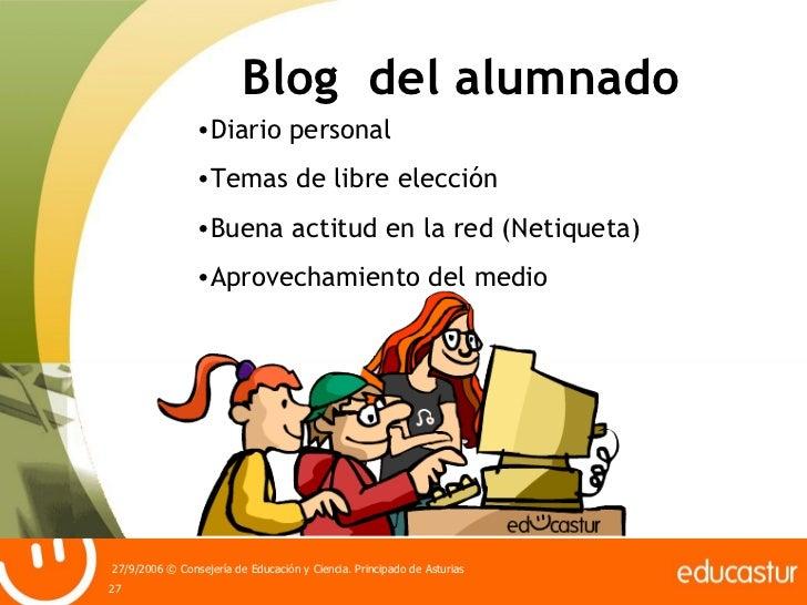 Blog  del alumnado <ul><li>Diario personal </li></ul><ul><li>Temas de libre elección </li></ul><ul><li>Buena actitud en la...