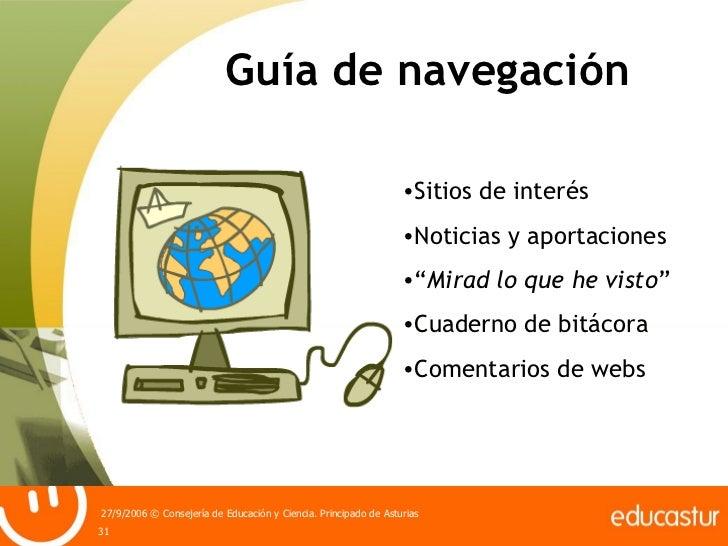 """Guía de navegación <ul><li>Sitios de interés </li></ul><ul><li>Noticias y aportaciones </li></ul><ul><li>"""" Mirad lo que he..."""