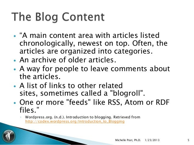 """   """"A main content area with articles listed    chronologically, newest on top. Often, the    articles are organized into..."""