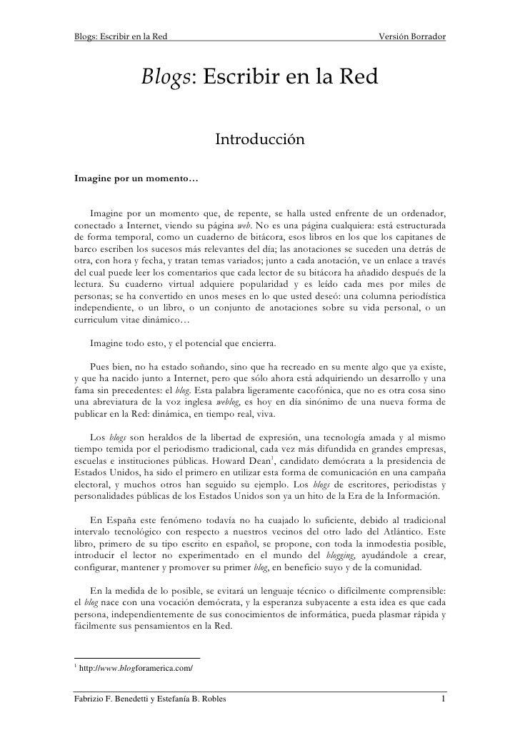 Blogs: Escribir en la Red                                                   Versión Borrador                         Blogs...