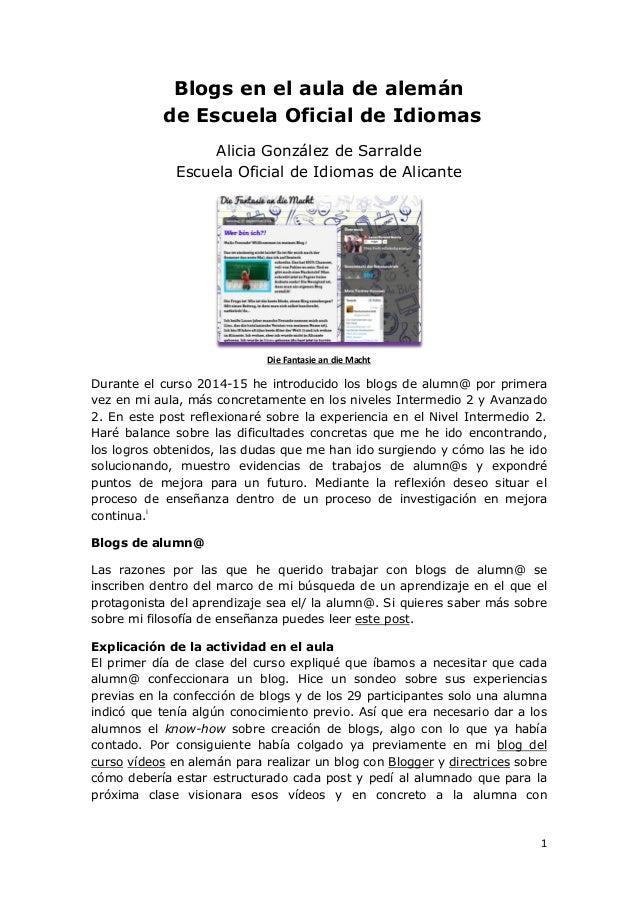 1 Blogs en el aula de alemán de Escuela Oficial de Idiomas Alicia González de Sarralde Escuela Oficial de Idiomas de Alica...