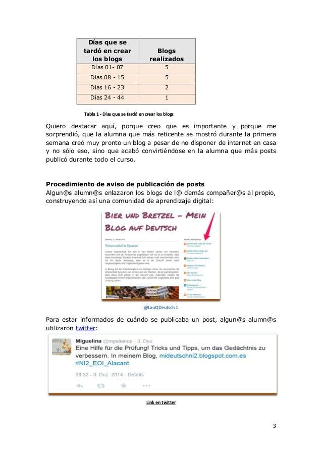 3 Días que se tardó en crear los blogs Blogs realizados Días 01- 07 5 Días 08 - 15 5 Días 16 - 23 2 Dias 24 - 44 1 Tabla 1...