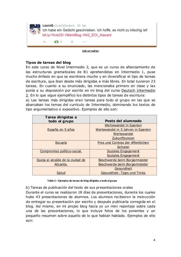 4 Link en twitter Tipos de tareas del blog En este curso de Nivel Intermedio 2, que es un curso de afianzamiento de las es...