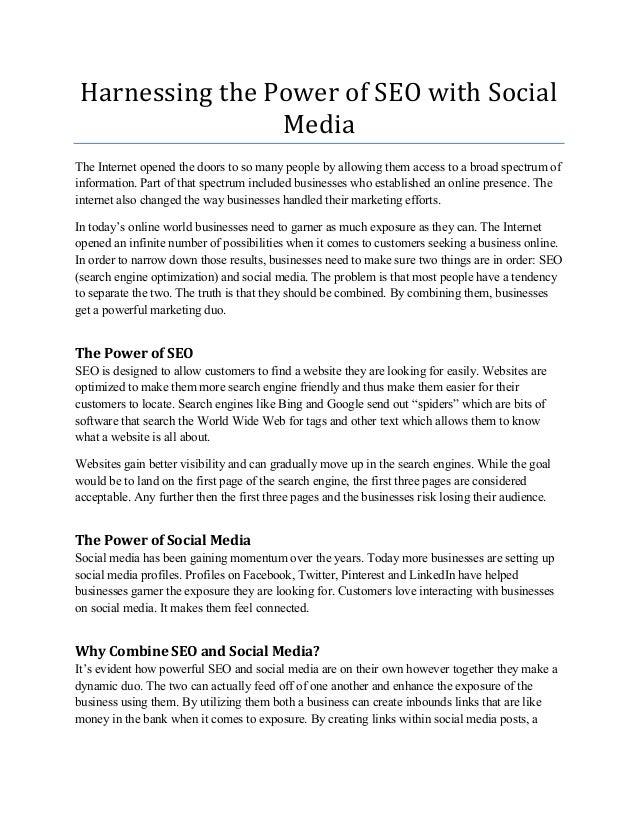 Harnessing the Power of SEO with SocialMediaThe Internet opened the doors to so many people by allowing them access to a b...