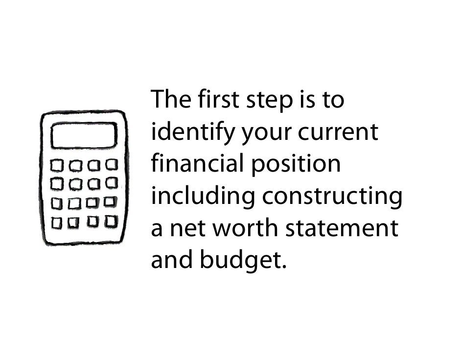 The first step is to              p identify your current financial position fi     il     ii including constructing a net...