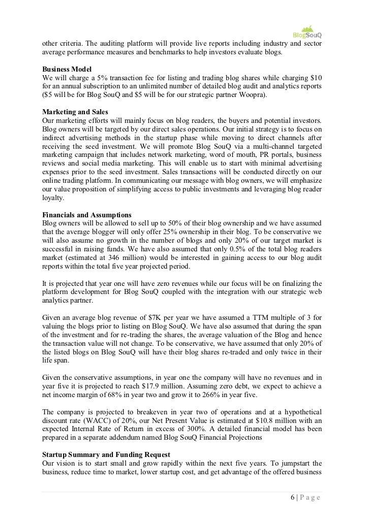 Blog Souq Business Plan