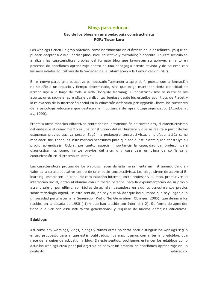 Blogs para educar:                     Uso de los blogs en una pedagogía constructivista                                  ...