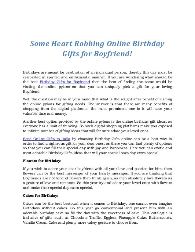Some Heart Robbing Online Birthday Gifts For Boyfriend