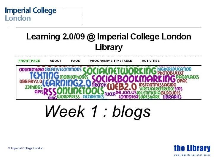 Week 1 : blogs