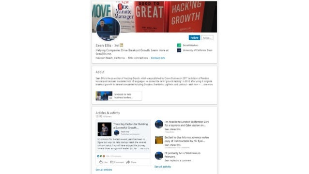 Examples of thought leader profiles on LinkedIn