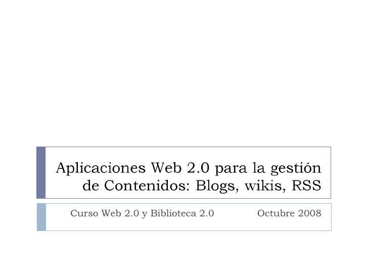 Curso Web 2.0 y Biblioteca 2.0  Octubre 2008