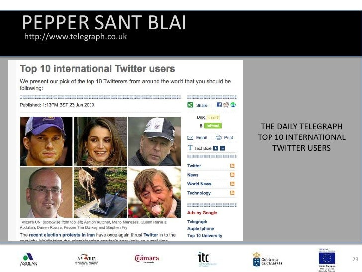 PEPPER SANT BLAI<br />23<br />http://www.telegraph.co.uk<br />THE DAILY TELEGRAPH<br />TOP 10 INTERNATIONAL TWITTER USERS<...