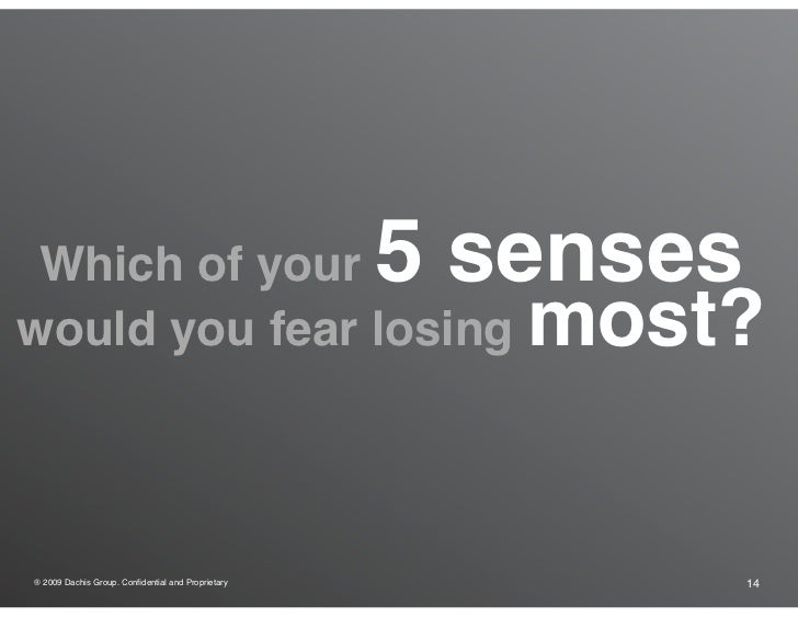 Which of your                                     5 senses would you fear losing                                 most?   ®...
