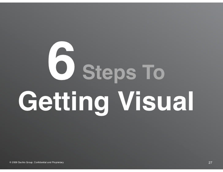 6                 Steps To        Getting Visual  ® 2009 Dachis Group. Confidential and Proprietary              27