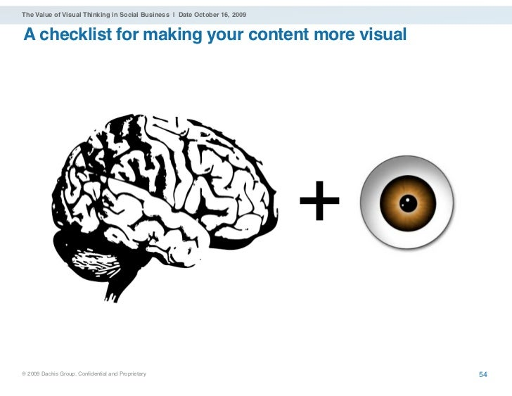 The Value of Visual Thinking in Social Business | Date October 16, 2009   A checklist for making your content more visual ...