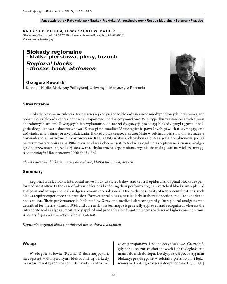 Anestezjologia i Ratownictwo 2010; 4: 354-360                  Anestezjologia • Ratownictwo • Nauka • Praktyka / Anaesthes...