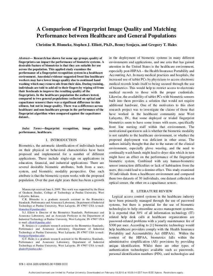 A Comparison of Fingerprint Image Quality and Matching                Performance between Healthcare and General Populatio...