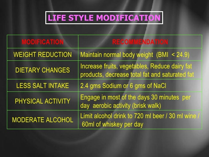 LIFE STYLE MODIFICATION Limit alcohol drink to 720 ml beer / 30 ml wine /  60ml of whiskey per day MODERATE ALCOHOL Increa...