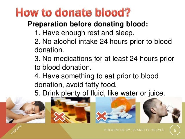 ... 9. Preparation Before Donating ...