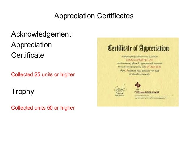 Blood donation process appreciation certificates acknowledgement appreciation yelopaper Choice Image