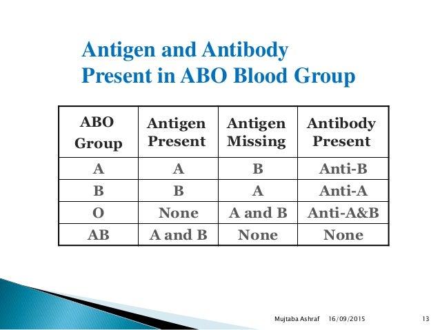 ABO Group Antigen Present Antigen Missing Antibody Present A A B Anti-B B B A Anti-A O None A and B Anti-A&B AB A and B No...