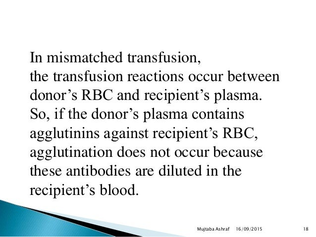 16/09/2015Mujtaba Ashraf 18 In mismatched transfusion, the transfusion reactions occur between donor's RBC and recipient's...