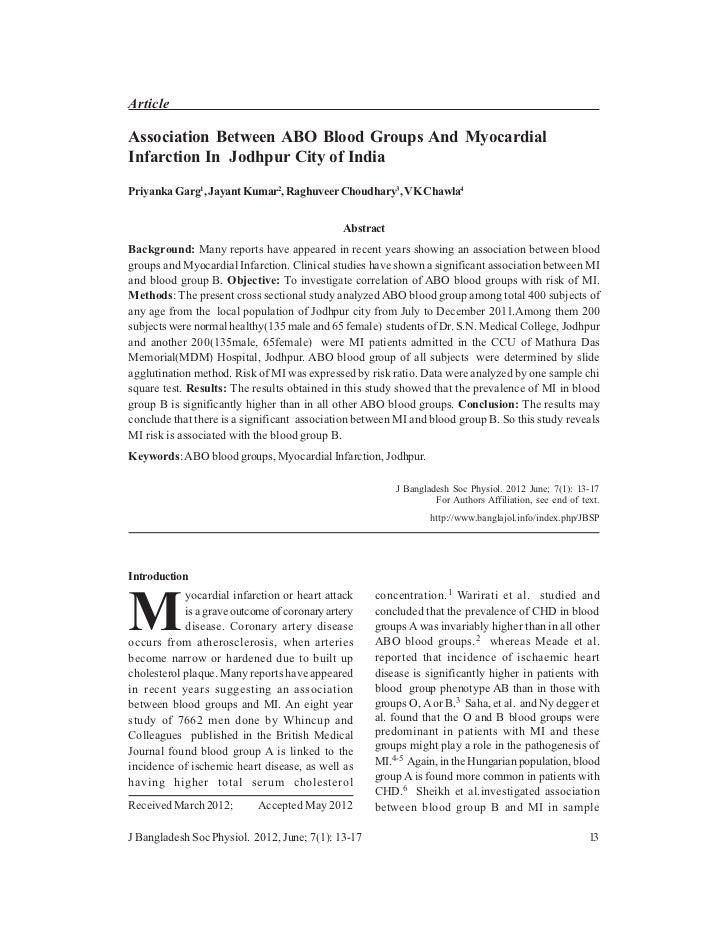 ArticleAssociation Between ABO Blood Groups And MyocardialInfarction In Jodhpur City of IndiaPriyanka Garg1, Jayant Kumar2...