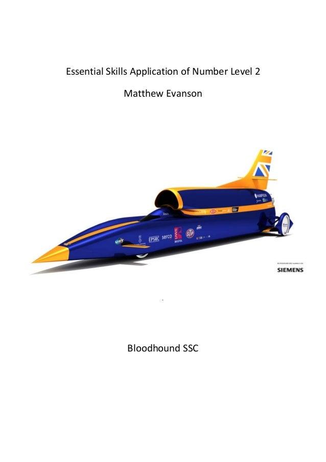 EssentialSkillsApplicationofNumberLevel2 MatthewEvanson     .    BloodhoundSSC